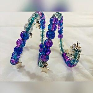 Jewelry - Adjustable Blue Purple Charm Bracelet